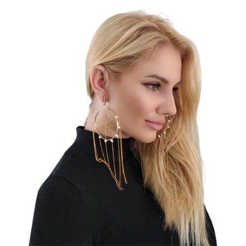 Μεγάλα εντυπωσιακά σκουλαρίκια μακριά καρφωτά με πέρλες – 2970