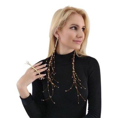Μεγάλα εντυπωσιακά σκουλαρίκια μακριά καρφωτά με πέρλες στυλ Μέδουσα – 2957