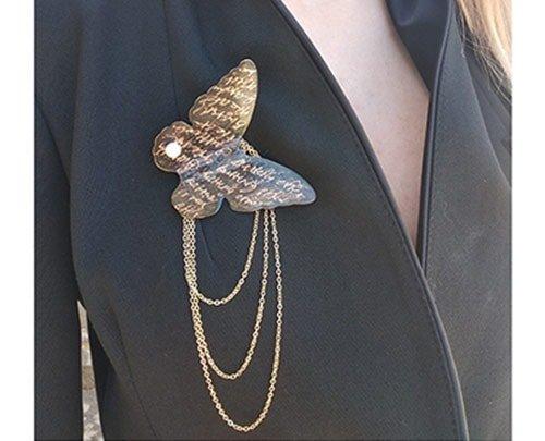 Μεγάλη εντυπωσιακή καρφίτσα πεταλούδα με μαργαριτάρι – 4730